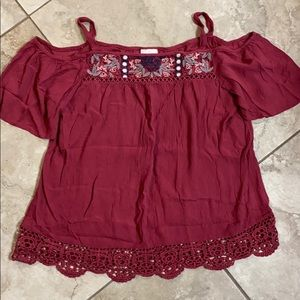 Boho embroidered blouse with cold shoulder